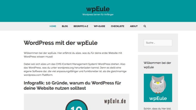 wpEule – WordPress lernen für Anfänger