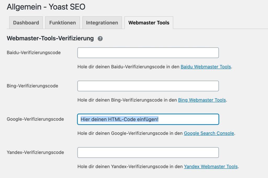 html-code-google-search-console-bei-yoast-einfuegen