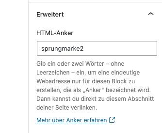 Sprungmarke Gutenberg WordPress