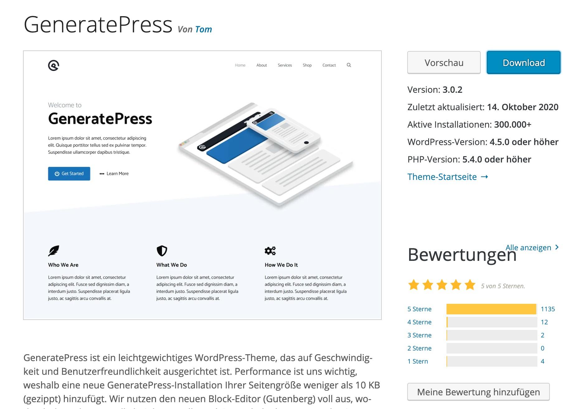 Das Theme GeneratePress bei WordPress.org