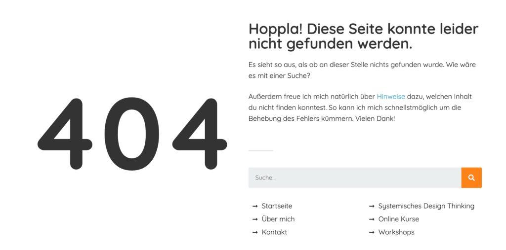Beispiel für bearbeitete 404 Seite bei WordPress mit Elementor
