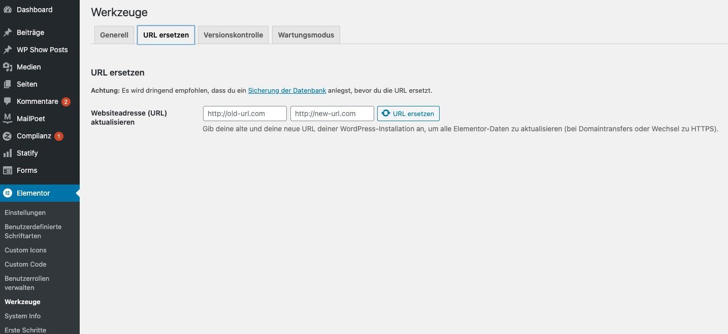 suchen-ersetzen-wordpress-urls-elementor
