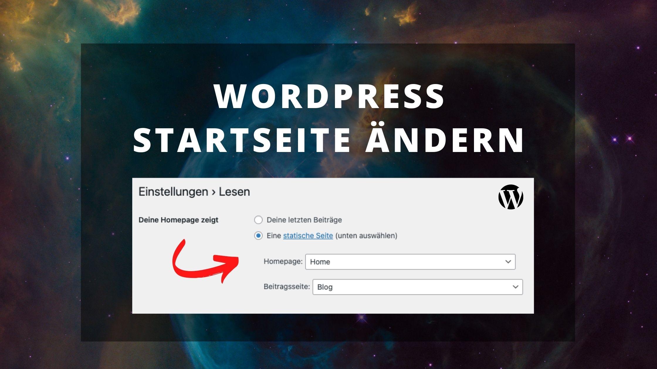 WordPress Startseite ändern